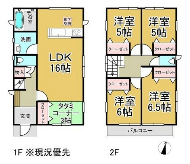 間取り図 リビングの隣りに3帖の畳コーナーがあり寛ぎスペースにピッタリですよ。