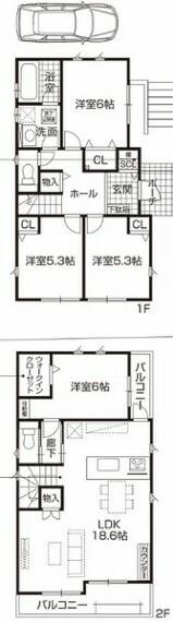 間取り図 全てのお部屋が5帖以上で使い勝手のいい綺麗な形のお部屋のため、家具の配置を考えるのが楽しくなりますね! LDKは広々18.6帖!