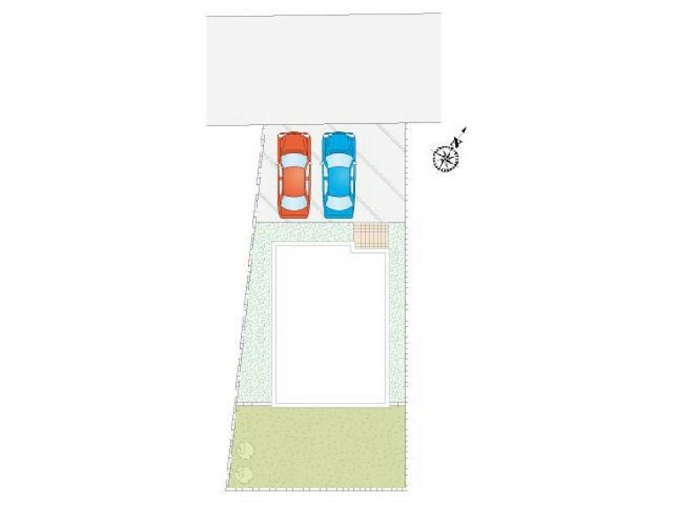区画図 A号棟 駐車場配置図・・・並列3台駐車可能!プライベートガーデン付きです!