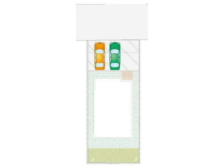 区画図 B号棟 区画図・・・並列でゆったり2台駐車が可能です。プライベートガーデン付きです!