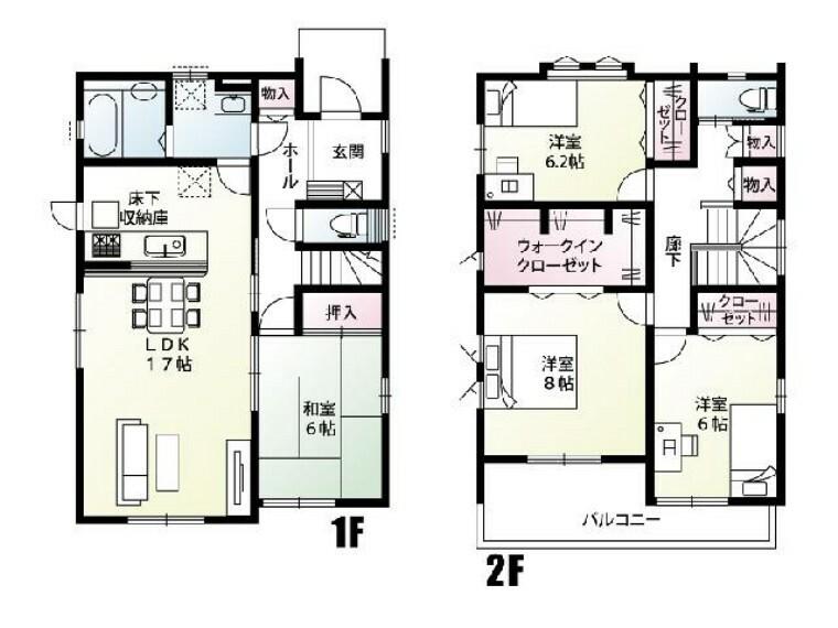 間取り図 C号棟 間取り図・・・各居室の収納の加えて共用物入れや大きなウォークインクローゼットなど収納が充実した間取りです!