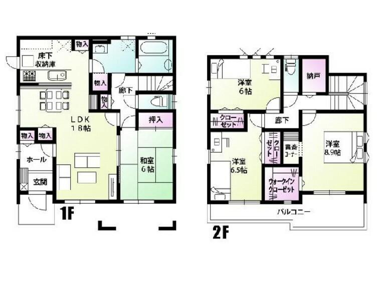 間取り図 A号棟 間取図・・・各居室の収納の加えて共用物入れや大きなウォークインクローゼットなど収納が充実した間取りです!