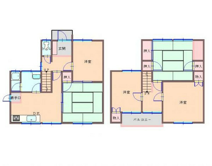 間取り図 (リフォーム前間取)昭和61年6月築・木造2階建・建物面積102.24m2(30.92坪)4LDKです。水回りの交換を中心としたリフォームでリフレッシュしますのでさわやかに新生活をスタートできますよ。