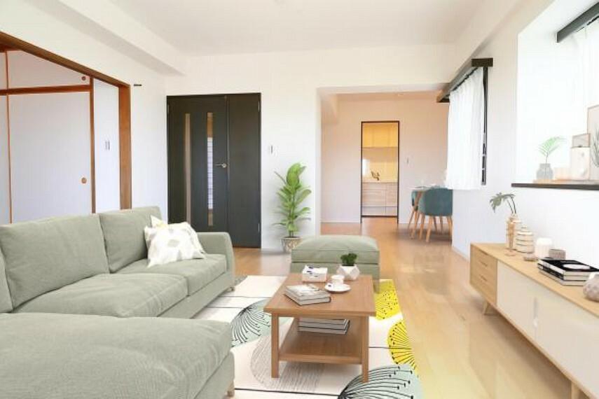 居間・リビング リビング(配置してある家具はCGによるイメージです)家族が集まるリビングは16.9帖のゆったり空間に。