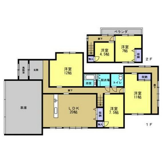 間取り図 【変更後間取り図】家族団欒を楽しむ変更予定のLDKは14帖ほどあります。玄関はシューズクロークを設けることにより、来客時に慌てて玄関を片付ける必要がありません。