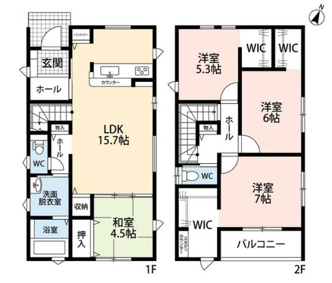 間取り図 キッチンに設けられたパントリーやリビング収納、2階洋室はウォークインクローゼット付きで、収納が大変豊富です。 家族と顔を合わせる機会が増えるリビング階段も魅力の一つです^^