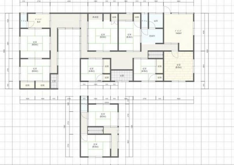 間取り図 9DKKと部屋数が多いので、2世帯で住まわれるご家族にもオススメです。