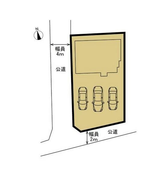 区画図 【区画図】敷地と建物の配置図です。土地面積316.03平米、建物面積133.31平米です。車が並列4台止まるので、駐車が苦手な方でもラクラクですね。