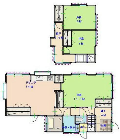 間取り図 リフォーム後の間取りは3LDKの二階建てです。全居室を洋室に変更しました。水回りはすべて交換済みで、新居では気持ちよくご使用いただけます。