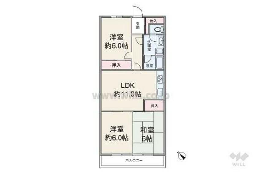 間取り図 専有面積61.66平米の3LDK。各居室にアクセスする際、必ずLDKを通るため、家族のコミュニケーションがはかどります。リフォーム済みにつき、すぐにご入居いただけます。ぜひ一度ご見学ください。