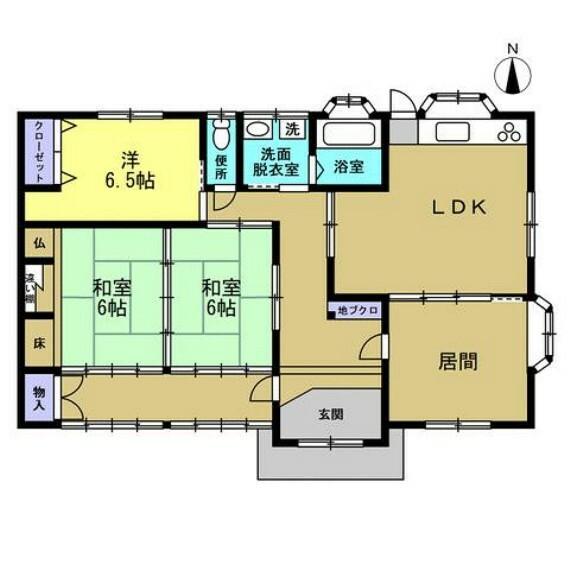 間取り図 【リフォーム済】北西側の和室を独立した洋室に間取変更しました。二間続きの和室も落ち着きますが、クローゼット(1間)を新設した洋室があると若い方にも喜ばれますね。