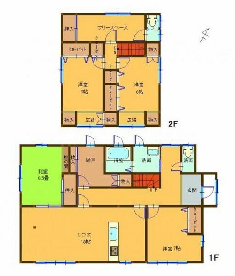 間取り図 リフォーム後は4SLDKになる予定です。対面式キッチンの18帖LDK、1階2階トイレ、収納もあり、ゆとりあるの広さです。