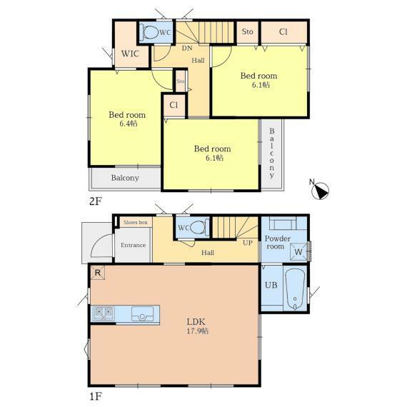 間取り図 【A棟】友人を招きたくなる広々としたリビング。WICなど収納が充実した間取りなのでお部屋を広くお使いいただけますよ。
