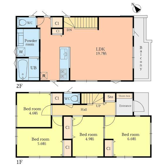 間取り図 【B棟】家族団らんのリビングは19.7帖のゆとりある空間。水廻りが集中しているので家事動線もスムーズ。奥様に優しい設計を採用しました。