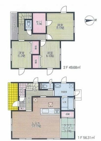 間取り図 LDK18帖、全居室6帖以上の使いやすい間取り。多目的に使える3帖の畳コーナー付。SIC、WIC付で住空間をスッキリ広く使えます。リビングを見渡しながらお料理ができる対面キッチン採用。