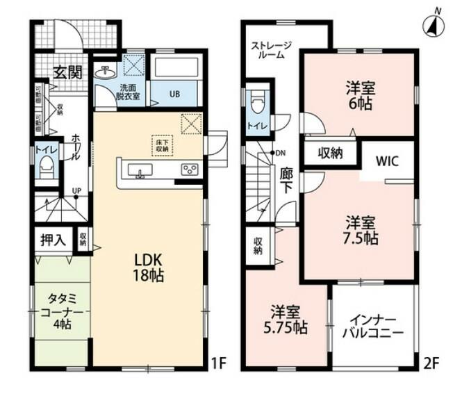 間取り図 3LDKとストレージルームでゆとりのある暮らしが実現。リビングは隣にある畳コーナーを合わせると20帖以上の開放感あふれる空間に。2階は洋室が3部屋あるので、お子様が大きくなっても安心ですね。