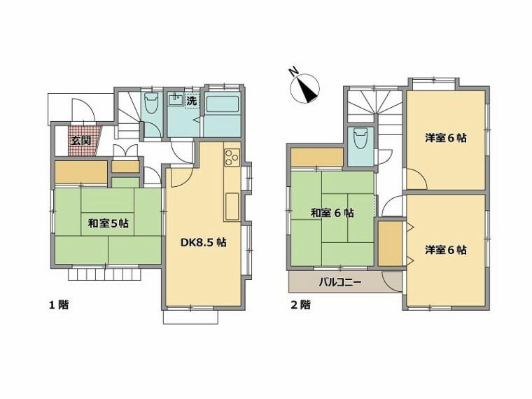 間取り図 間取図・区画図/全居室6帖の広々4DK
