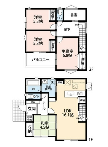 間取り図 玄関収納やリビング収納など収納スペースが充実しています^^書斎は趣味のスペースとしても活用できそうですね^^