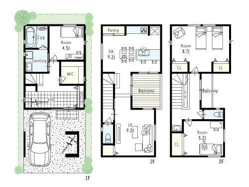間取り図 プラン図■2階ウッドデッキのバルコニーを中心にLDKを配置した開放感があり明るいお家です。玄関土間は3.7帖と広く、ベビーカーや大切な自転車などもお家の中に収納できます!