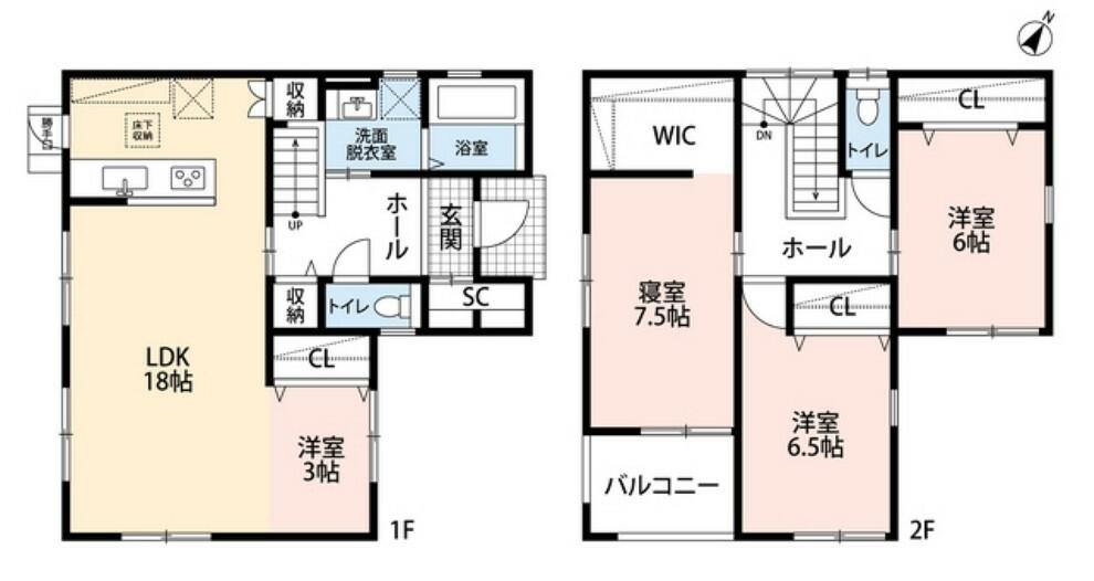 間取り図 3LDKとウォークインクローゼットでゆとりのある暮らしが実現。リビングは16帖以上にタタミコーナーが併設された開放感あふれる空間です。2階は洋室が3部屋あるので、お子様が大きくなっても安心ですね^^