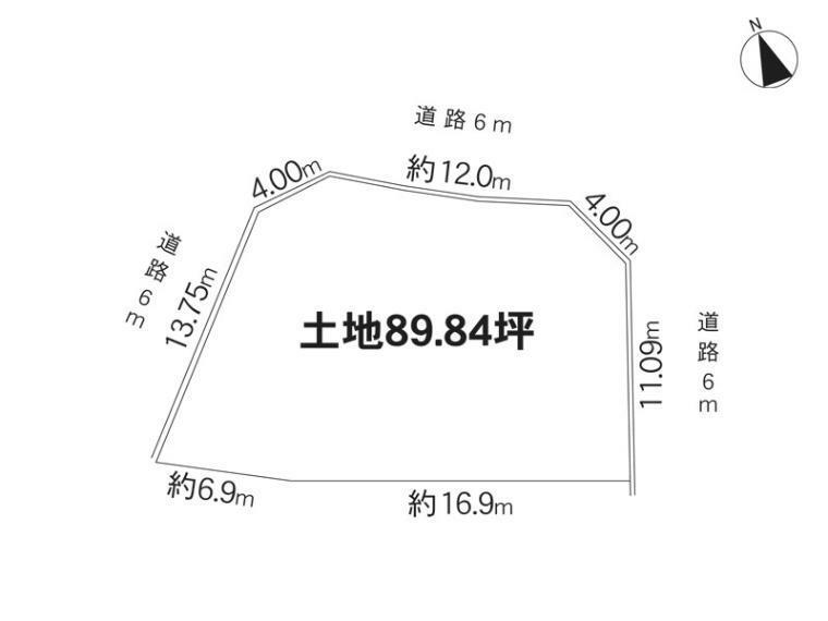 土地図面 三方角地・地区計画有【一般住宅ゾーンD】高さ10mまで・最低敷地面積170平米・外壁後退1m以上