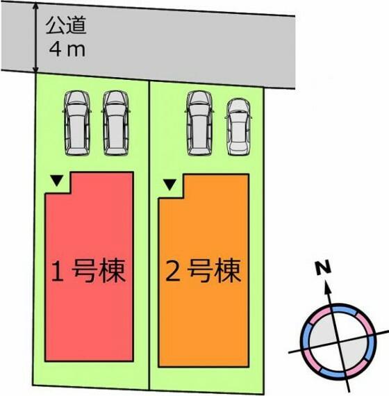 区画図 【配置図】カースペース並列2台可能!