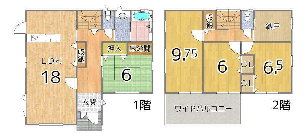 間取り図 全室6畳以上でゆったりお過ごしいただけます。