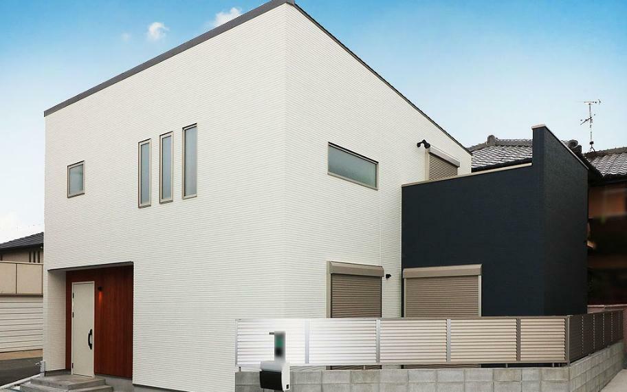 参考プラン完成予想図 施工例■凹凸感を極力なくした外観は建物全体のバランスを整え、シンプルで飽きのこないお家になります。