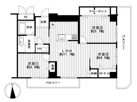 間取り図 3LDK 専有面積66.39平米 バルコニー面積17.57平米
