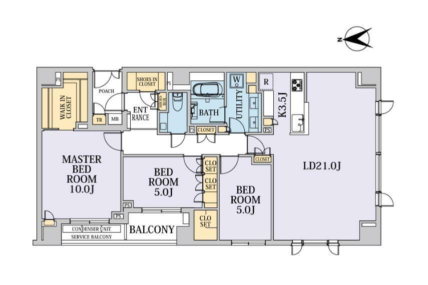 間取り図 南西の角部屋。最上階に付き、上階に住戸なし。陽当たり・解放感良好です。