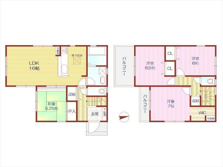 敷地面積約33.21坪、4LDK+WIC+車2台駐車可!南側バルコニー2か所。