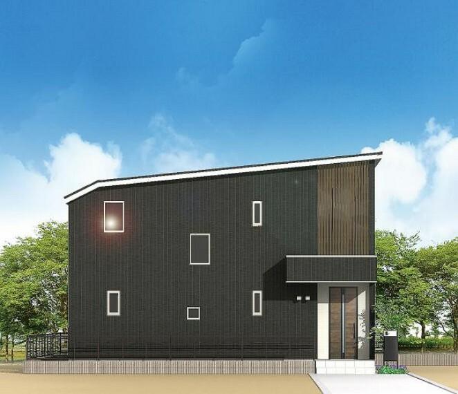 完成予想図(外観) 8号地完成予想図 人を呼びたい家ってこんな家じゃないですか。黒ベースの外観が一般の建売住宅と一線を画すお洒落さを演出します。