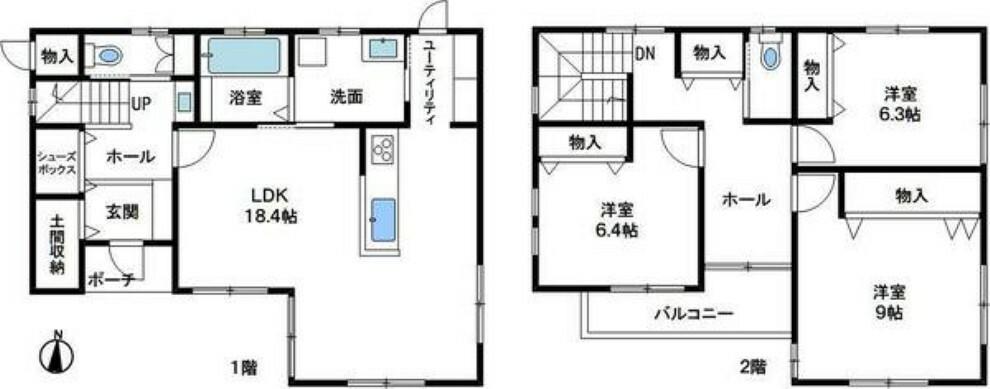 間取り図 パナソニック耐震工法「テクノストラクチャー工法」のオール電化住宅です。 メーターモジュール設計で廊下・階段幅もゆったりサイズ。