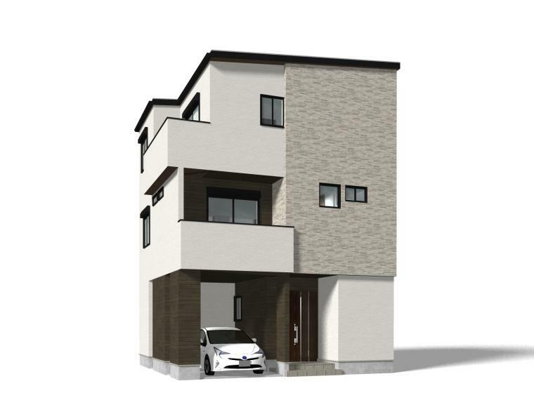 完成予想図(外観) A区画イメージ/玄関とつながるインナーガレージで、大切なお車を雨や黄砂から守ります。
