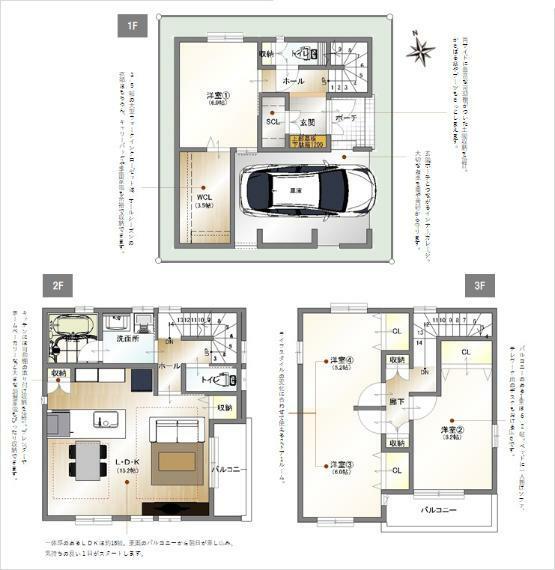 間取り図 A区画 3階建て4LDK・3帖WCLと2ドア1ルームのある家。