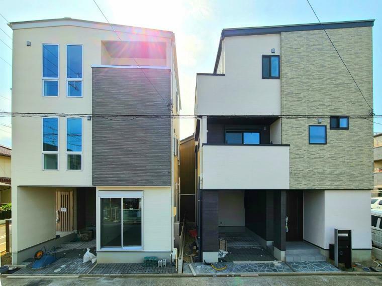 現況外観写真 東側道路より 右:A棟(販売中) 左:B棟(ご成約済み)