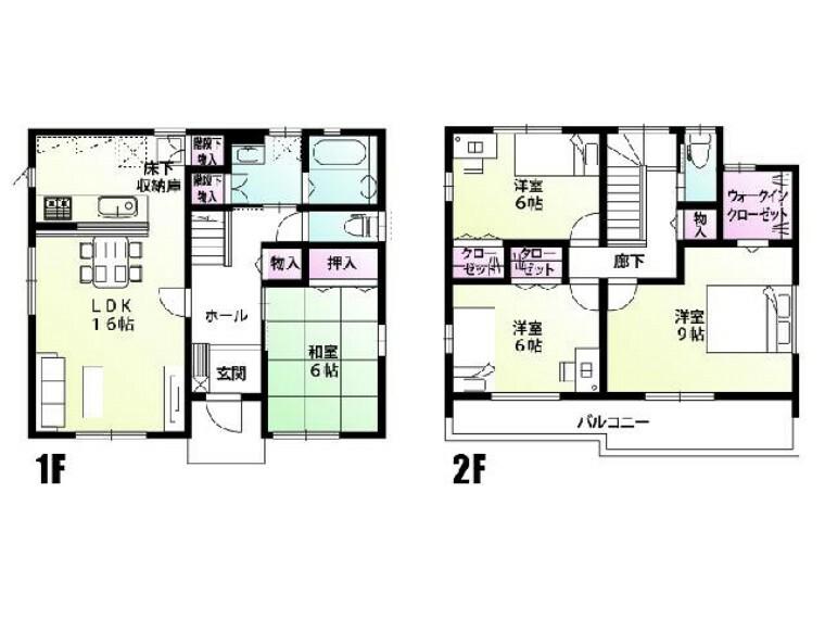 間取り図 A号棟 間取図・・・独立した和室は気兼ねなくご両親もお泊りできます。