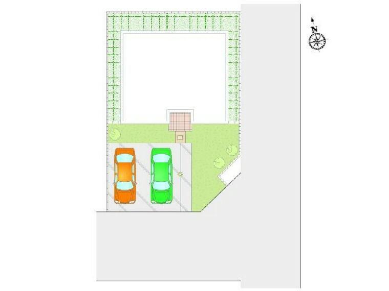 区画図 A号棟 区画図・・・駐車2台可能。南側は、お庭のスペースとなっておりガーデニングなど楽しめる配置となっております。