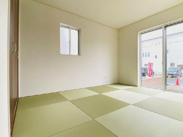 A号棟 和室~同仕様施工例~・・・昼寝するも良し、子供の遊ぶお部屋として使うも良し、来客用の客間として使うも良し、和室は万能な居室ですね