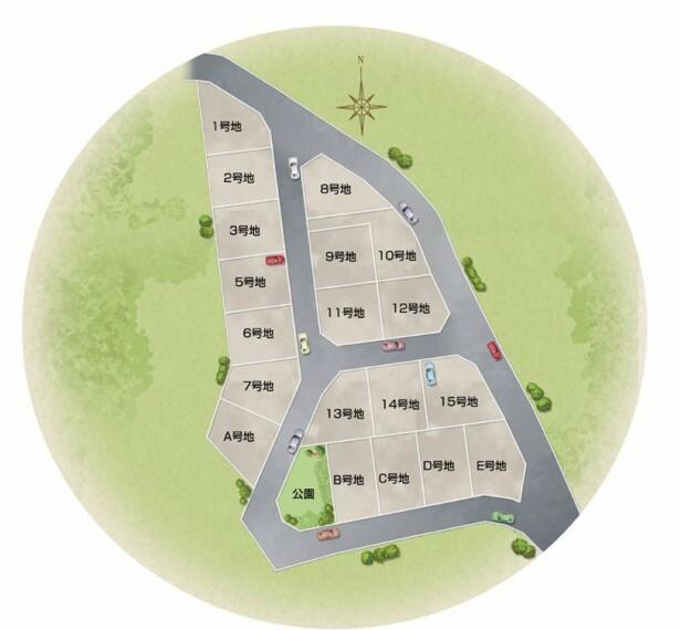 区画図 眼下に広がる眺望と、心地よい風が通り抜ける高台立地の分譲地 全19区画 街区は幅員6mの安全な道路計画