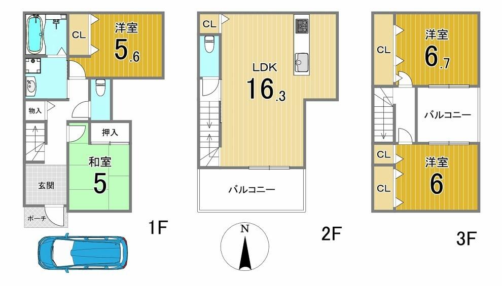間取り図 全居室に収納が有ります。ゆったりとした間取りのお家です