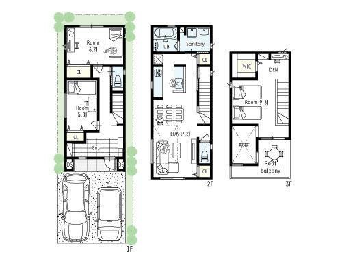 間取り図 プラン図■駐車場2台、広々玄関3LDKプラン!家族が集まるLDKは17.2帖と広く、吹抜けの採光でとても明るいリビングに。水回りは2階にまとめ、家事同線も優れています!各お部屋の収納も確保しています。