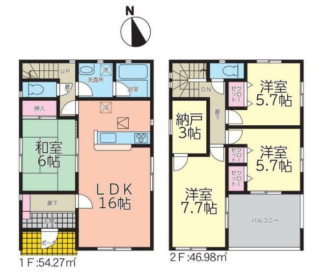 間取り図 【1号棟間取り図】4LDK+WIC 建物面積110.97平米(33.62坪)