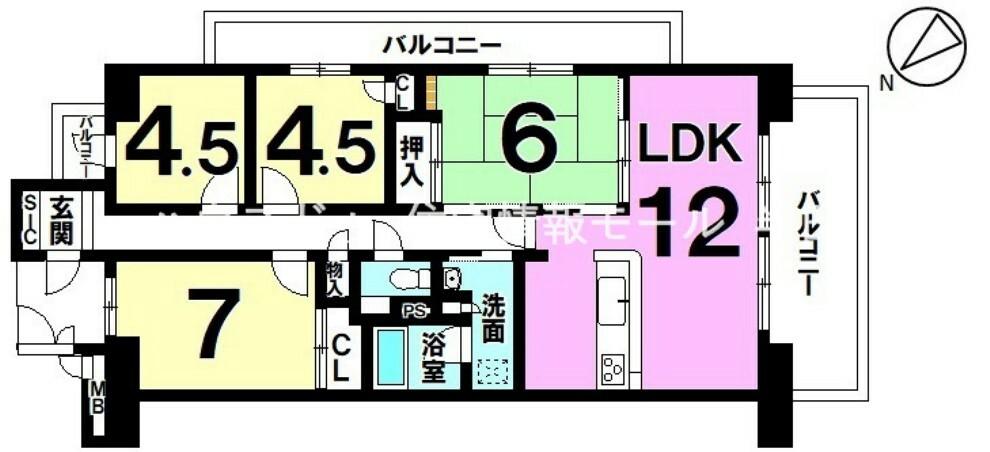 間取り図 開放感のある3面バルコニーの角部屋 子供部屋も確保できる4LDK