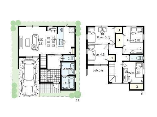 間取り図 プラン図■各お部屋に収納を完備した2階建てプラン。水回りとLDKは1階にまとめ、家族が集まりやすいお家に設計しました。9.5帖の洋室は将来間仕切り可能で家族が増えても安心です!