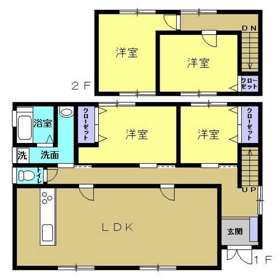 間取り図 【リフォーム中】間取りは4LDKの二階建てです。