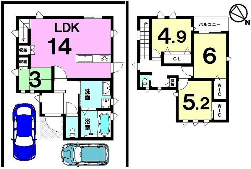 間取り図 【新築戸建】モデルハウス完成!WIC・床下収納有り!駐車場2台!周辺環境充実!是非一度ご相談ください