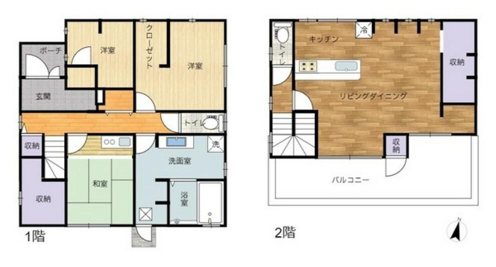 間取り図 2階にリビングのある明るく開放的な間取りです。1階には各居室があり収納豊富です。