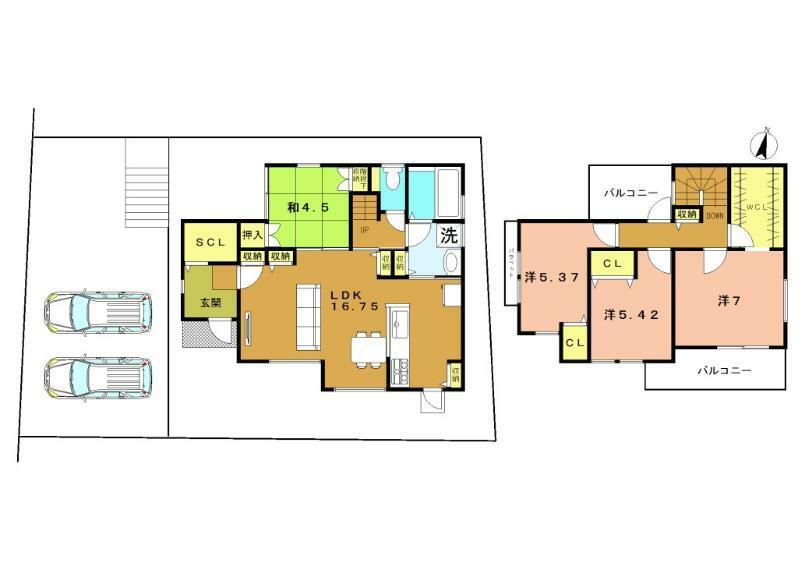 参考プラン間取り図 2号地 建物98.18平米 1,930万円