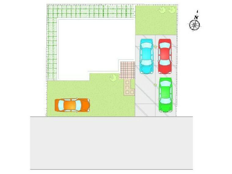 区画図 A号棟:配置図・・・4台駐車可!前面道路も6mなので駐車もらくらくです。